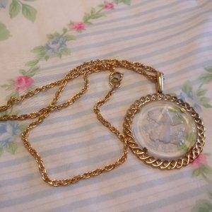 Trifari Glass Zodiac Pendant Gold Necklace Virgo